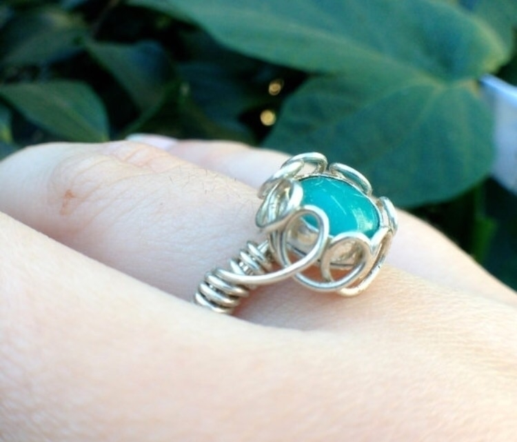 Turquoise flower-inspired ring  - stoneandleafjewelry | ello