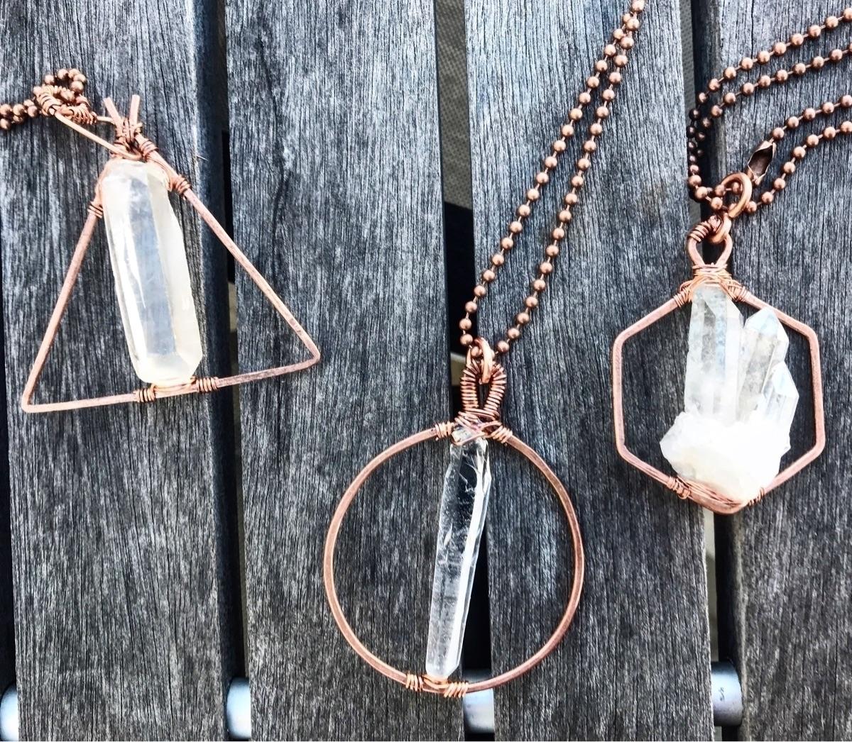 geometric crystal pendants Chec - twistedleafstudio   ello