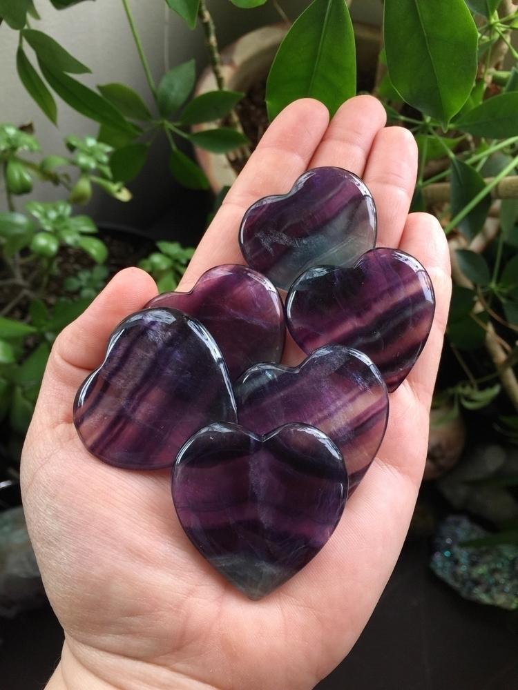 beautiful fluorite hearts left  - cosmicauracrystals   ello