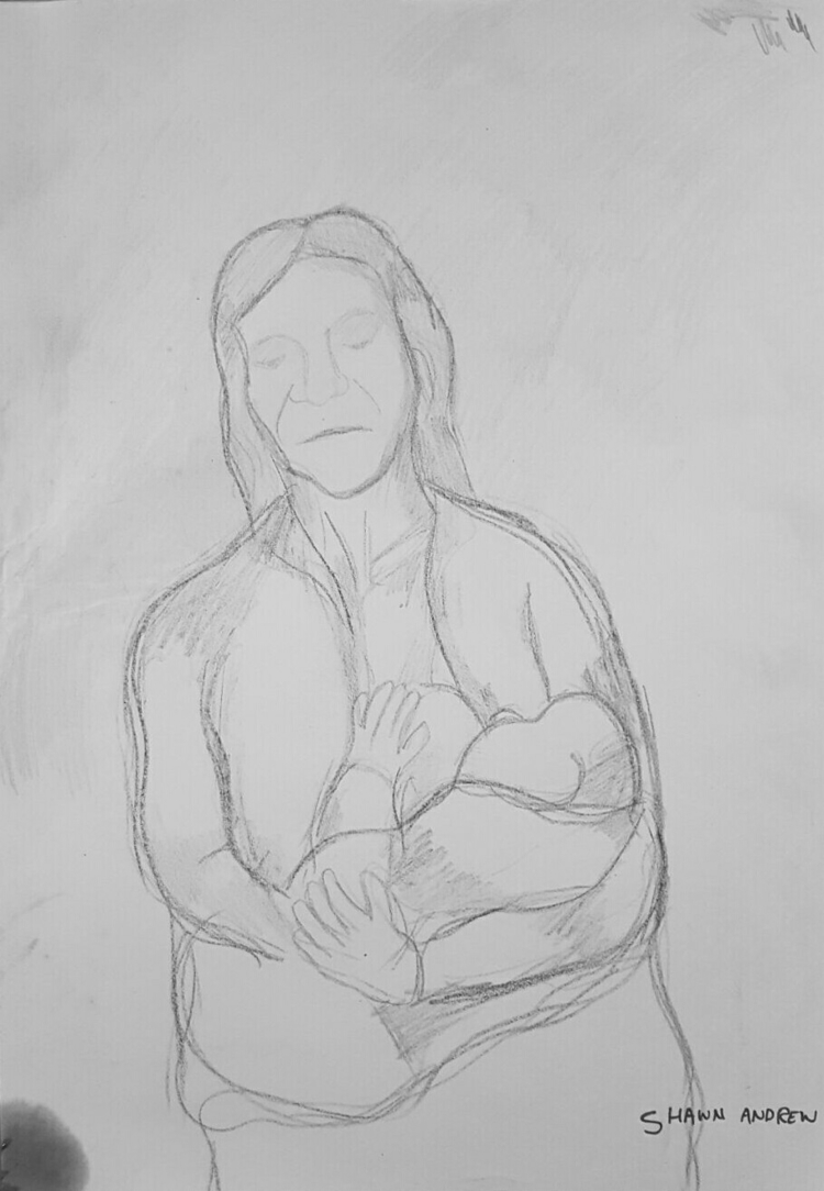 Mother baby - Crayon paper - ShawnAndrewArtist - shawnartist | ello
