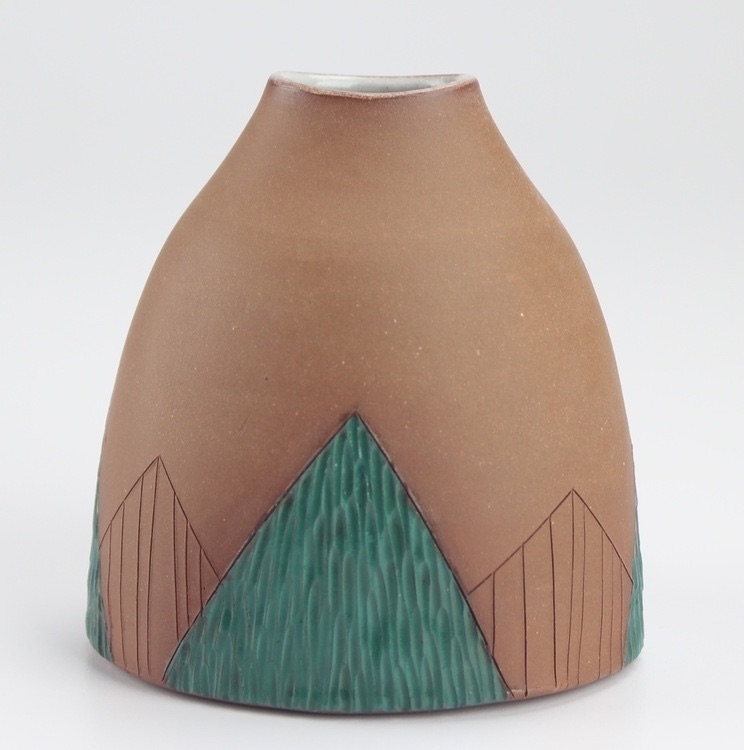 Bud vase - triangle, abstract, geometric - bekahblisspottery | ello