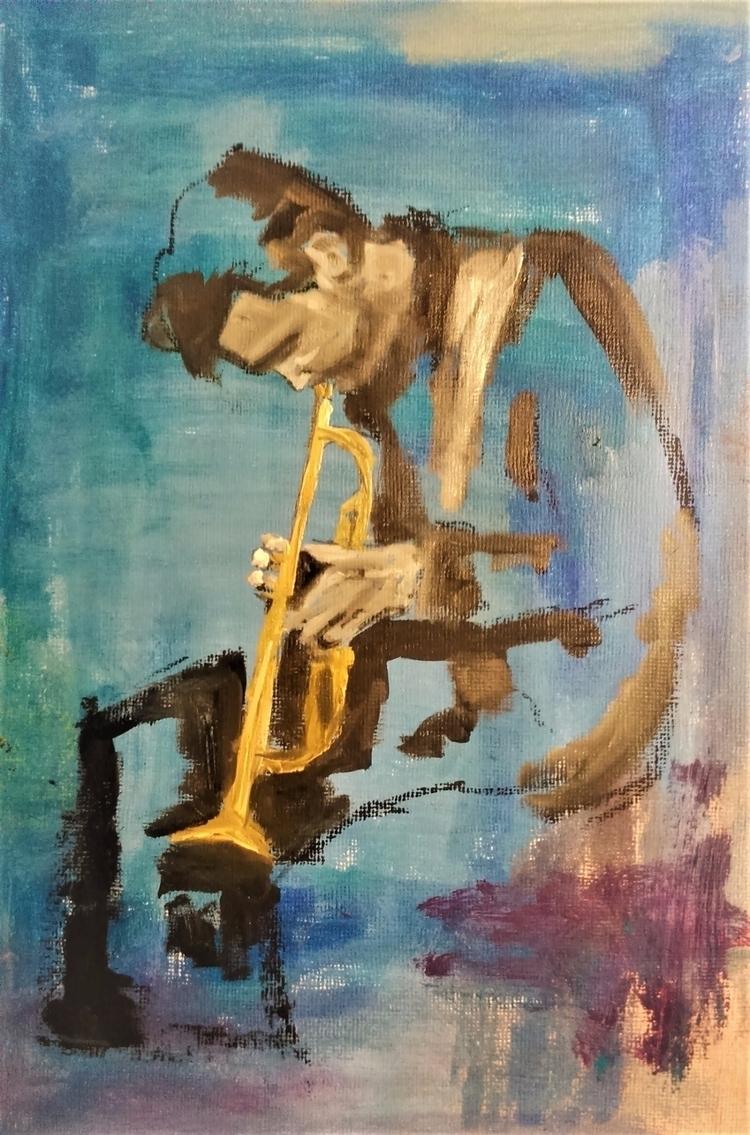 Chet Baker ///// oil paper - bl - guiart | ello