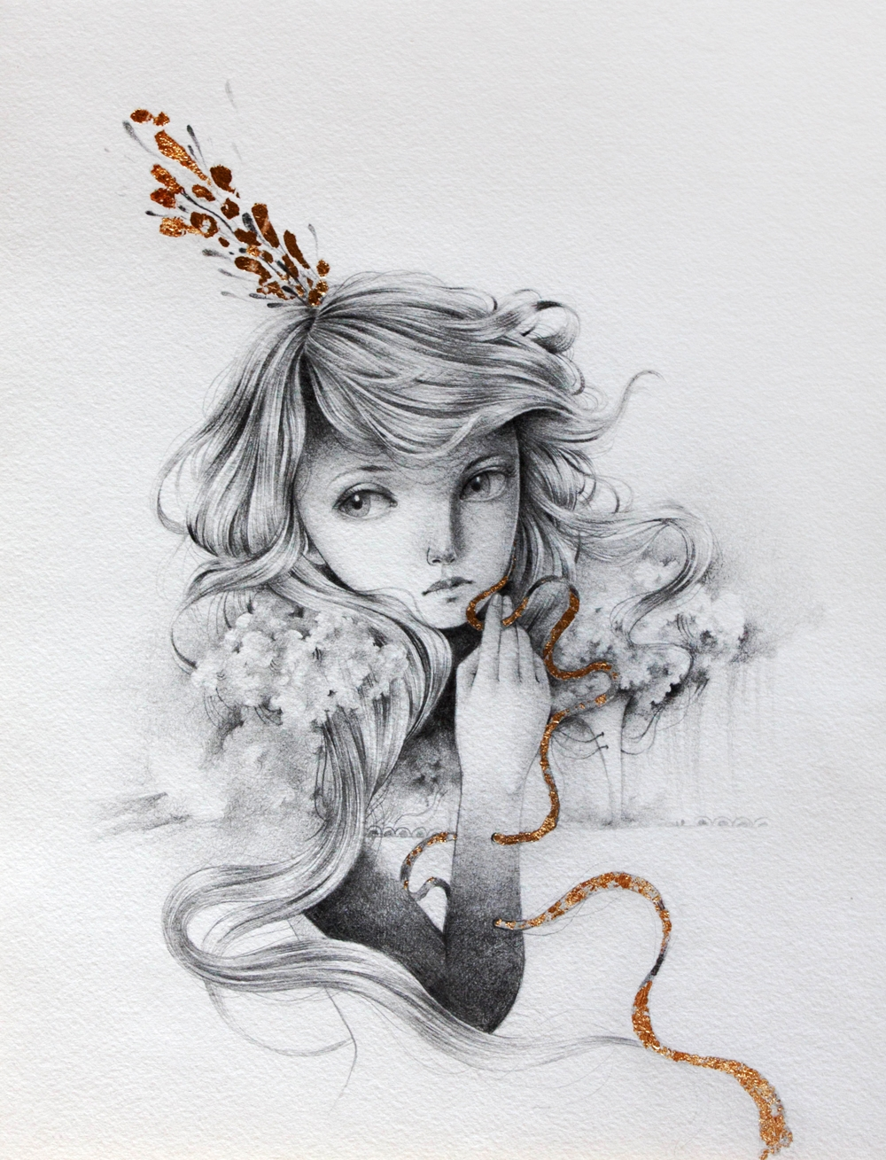 grey skies graphite golden leaf - ania_tomicka | ello
