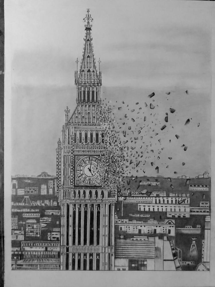 Big Ben ,graphite paper - art, arts - ashutosht82   ello