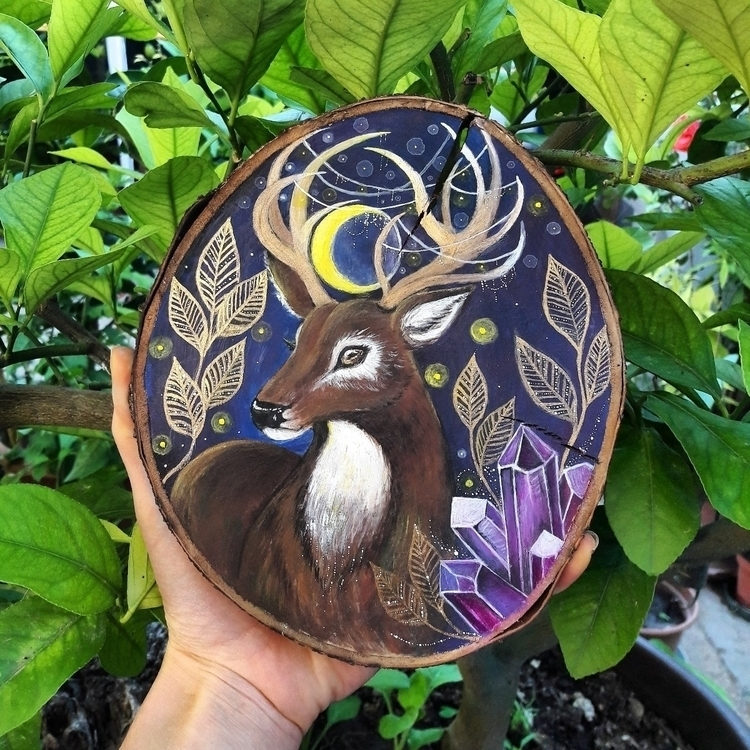 Majestic Stag painted 9 slice c - magicwood_creations | ello