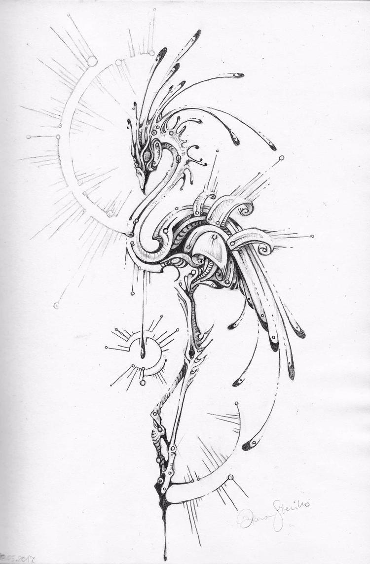 Fast sketch flamingo  - drawing, - tenenbris | ello