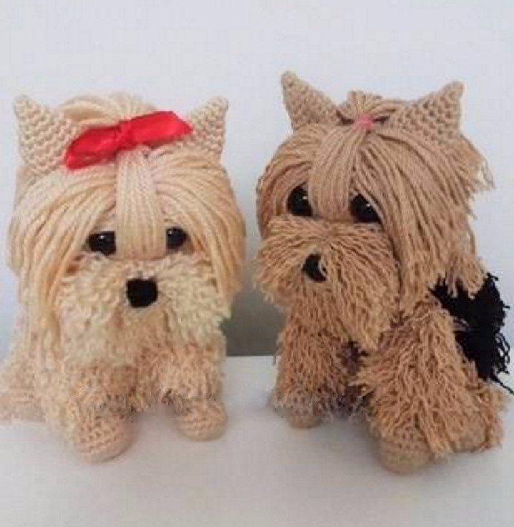 Ah, delighted puppies crocheted - brunacrochet | ello