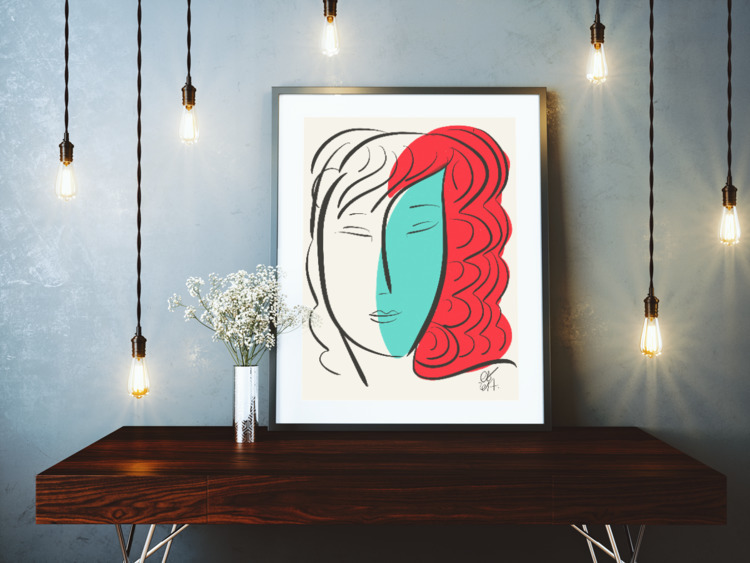 Turquoise Pop Girl Red Hair - art - signorino | ello