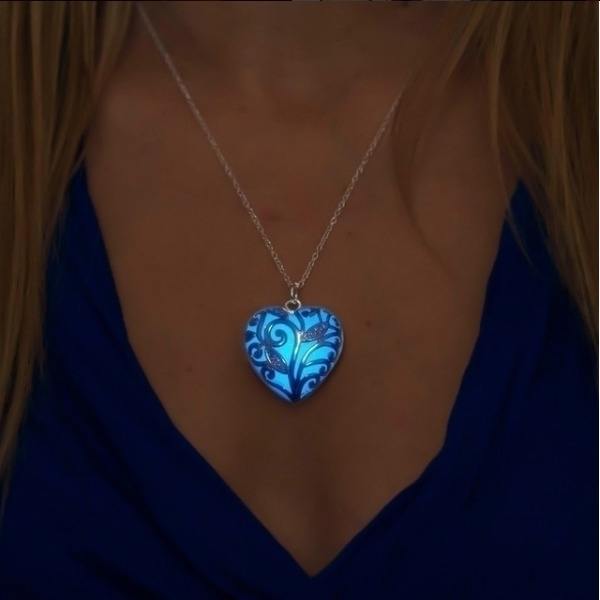 blue glowing heart necklace fav - epicglows | ello