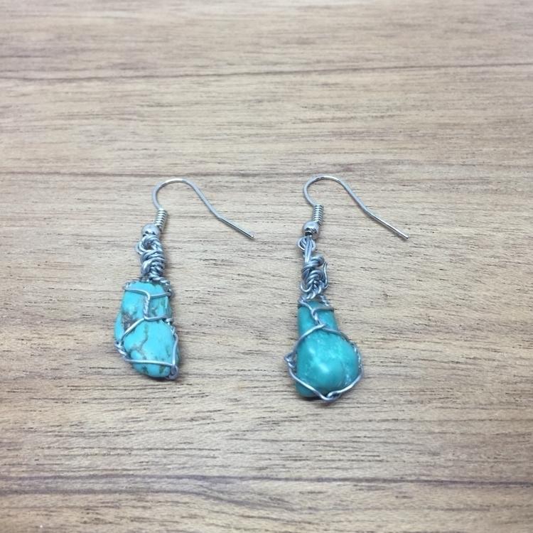 wire wrapped turquoise earrings - gemsfromem | ello