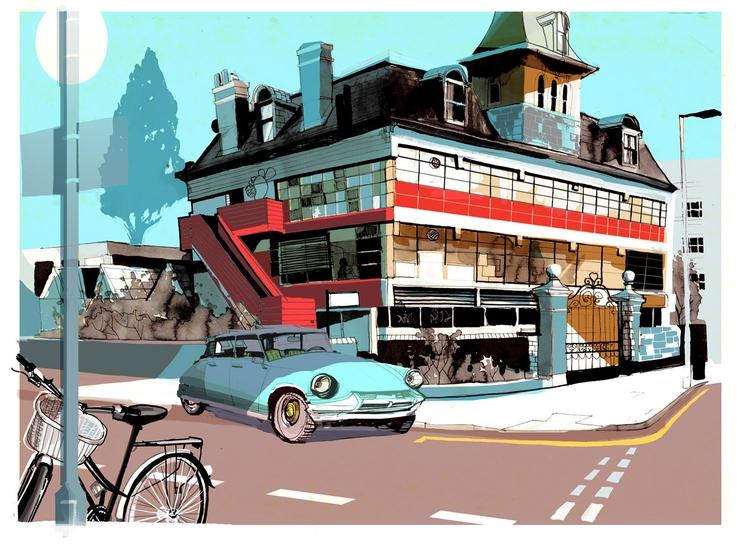 Street-Scene *4 - hackney, streetscene - alexgreendraws | ello