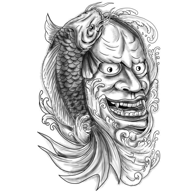 Fish Cascading Water - Hannya, Mask - patrimonio | ello