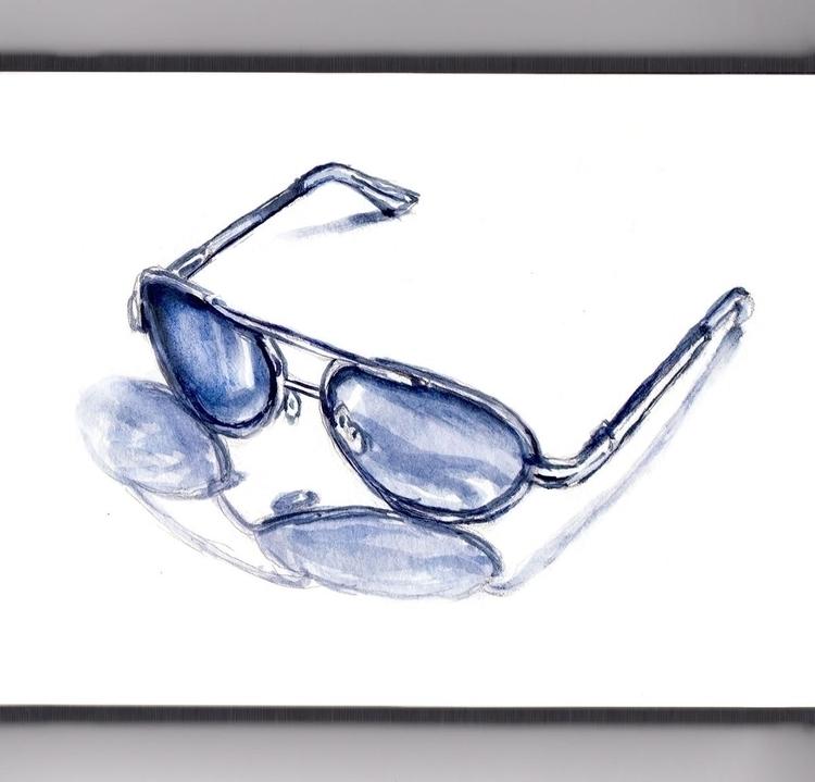 Sunglasses Night - watercolor, watercolour - doodlewash | ello