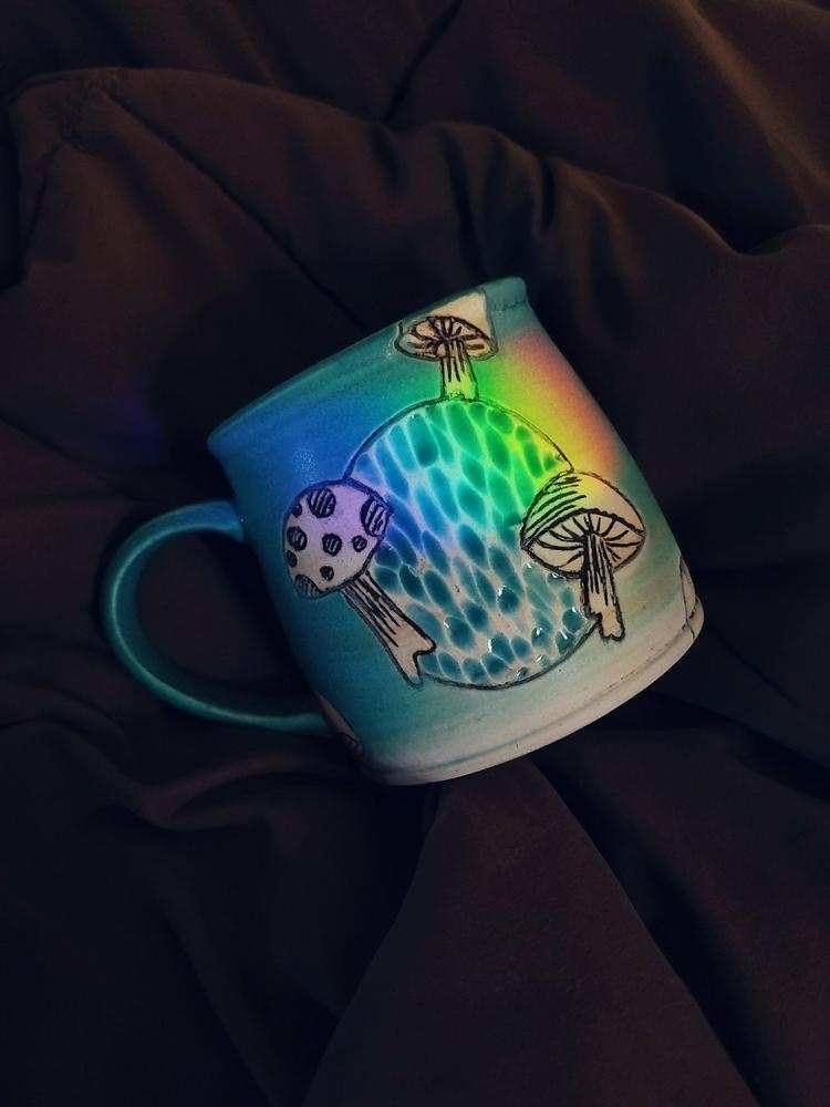 Lil' mushroom mug rainbow today - handtoearthceramics | ello