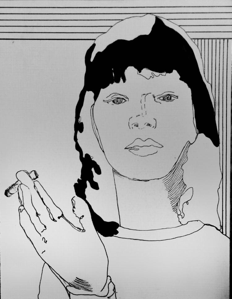 Anna Karina ///// ink oil paper - guiart   ello