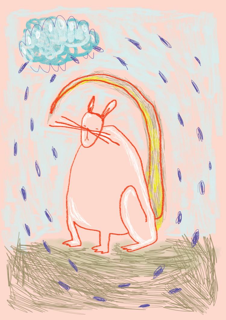 rabbit heart - illustration, pink - similasti | ello