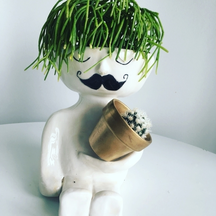 moustache question, hair - ceramic#cactus#pot#pottery - livingdecortwins | ello