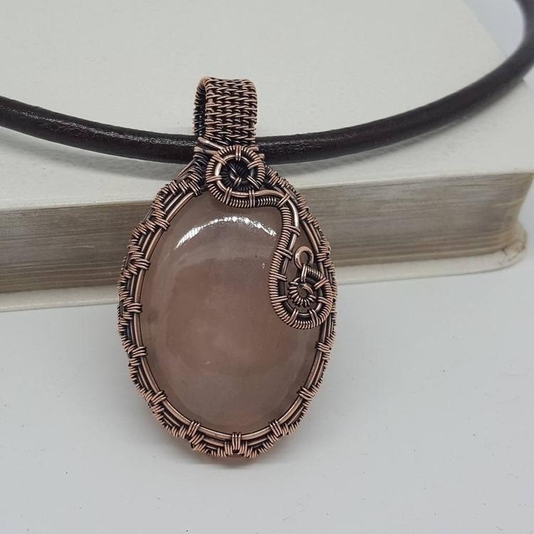 rose quartz copper pendant - gothic - jakdawgems | ello