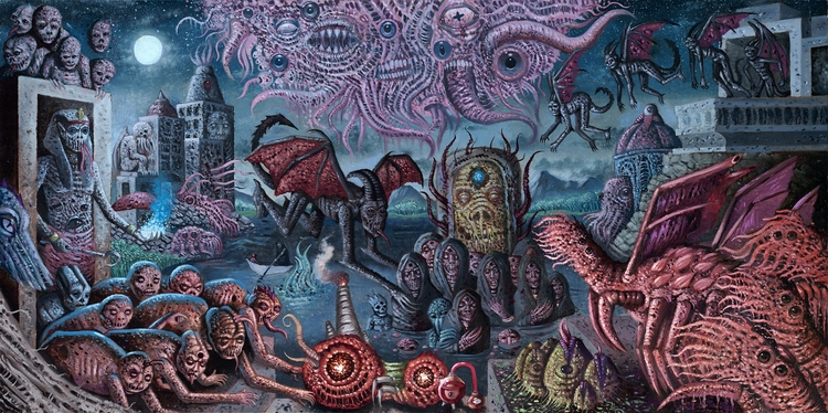 24x48 oil panel - lovecraft, oilpainting - curseddeath | ello