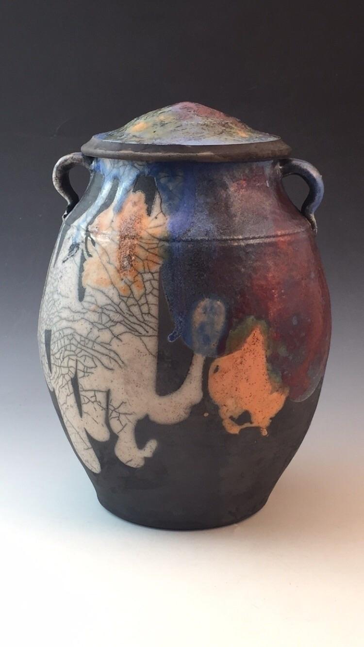 lidded raku fired pot - pottery - leahkoslow | ello