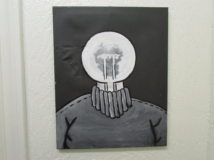 Lightbulb Head, 16 20 acrylic c - grumbusgrub | ello