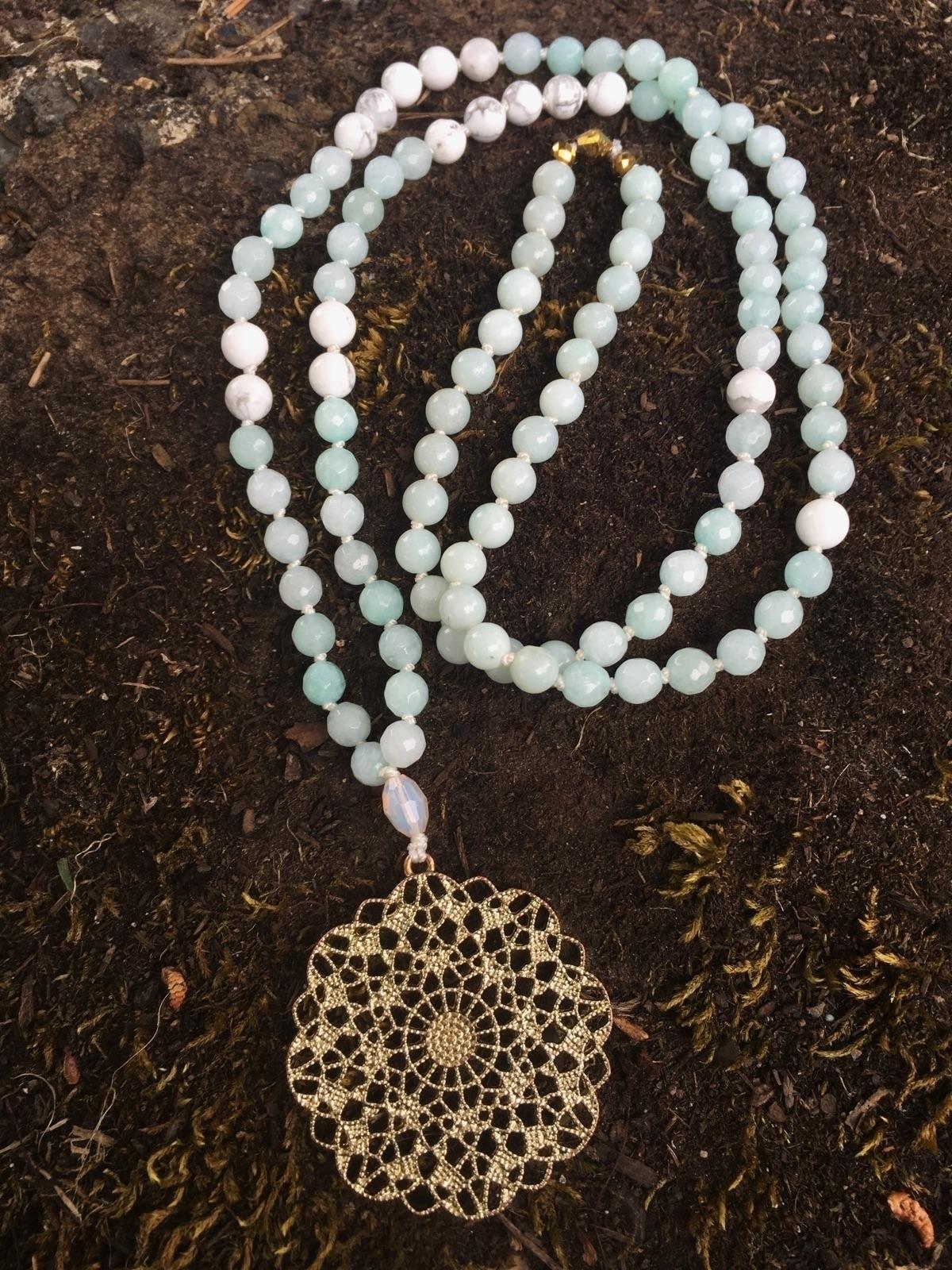 Amazonite white Howlite Mandala - gypsyxjewels | ello