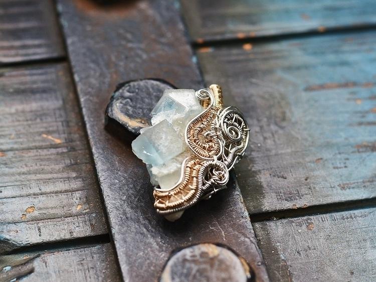Fluorite pendant, wrapped Sterl - alaskamooon | ello