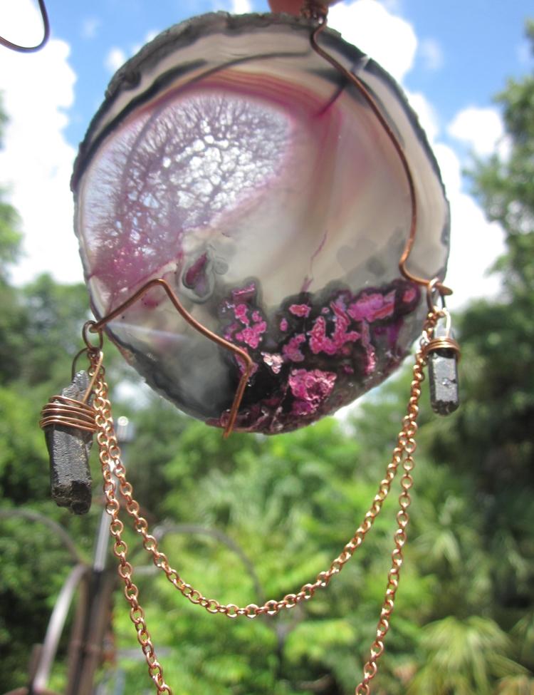 Pink Black Agate Sun Catcher. b - stonegypsy | ello
