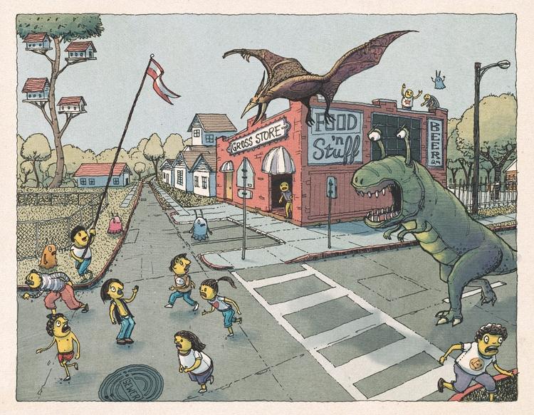 Dinos Attack - art, drawing, illustration - junkyardsam | ello