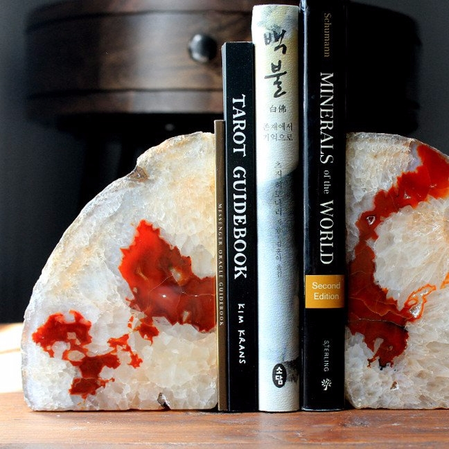 amazing set Carnelian bookends  - stoneandviolet | ello