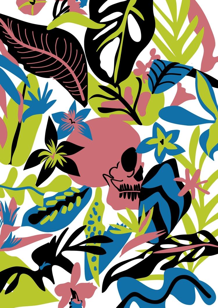 Calaca Floral - skull, illustration - mezclaostudio | ello