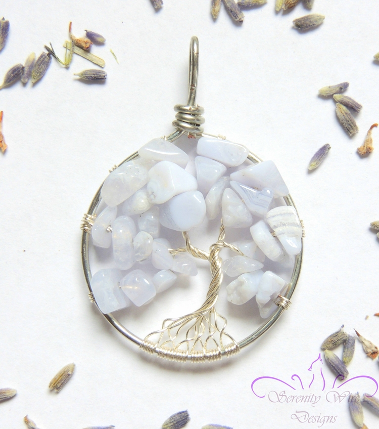 Tree life pendant lovely Blue L - serenitywiredesigns | ello