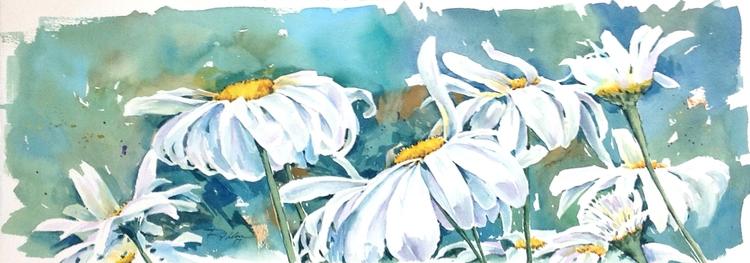 Belfast Daisy, Watercolor - rlnelsonmo | ello