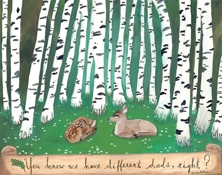 Fawns, gouache watercolor paper - jamieluoto | ello