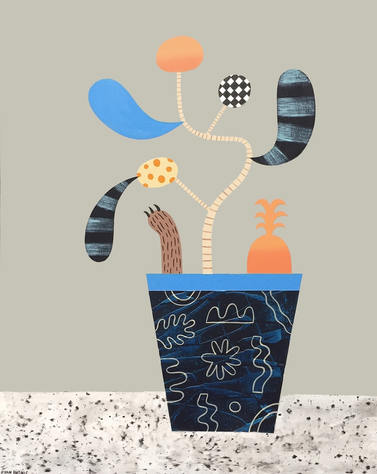 Plant, Paw, Pineapple Acrylic,  - rbubnis   ello