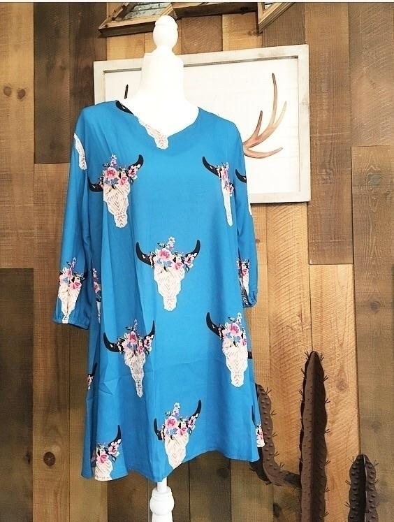 Aqua floral bull skull dress. $ - redneckheavenboutique | ello