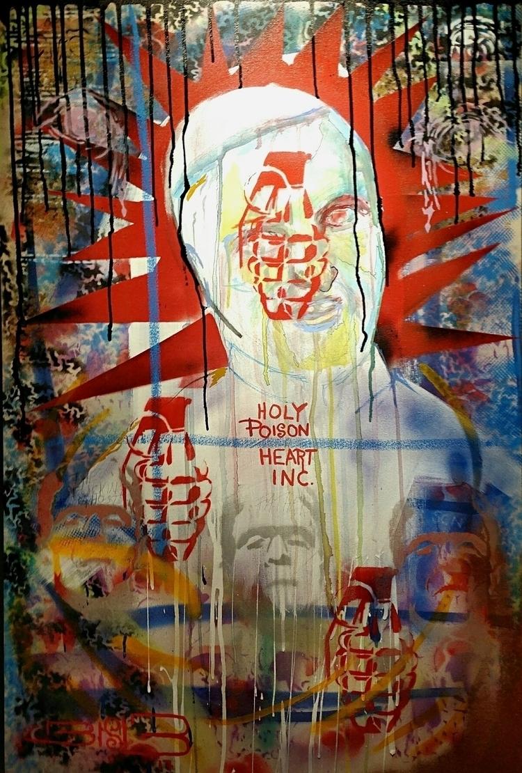 Holy Poison Heart 24X36 mixed m - dovey | ello