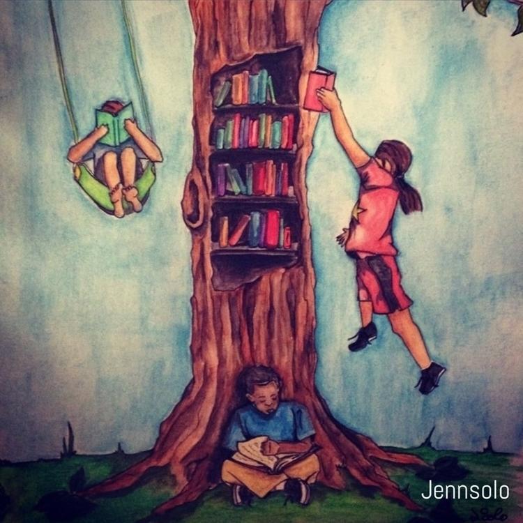 Watercolor piece - education, literacy - jennsolo | ello