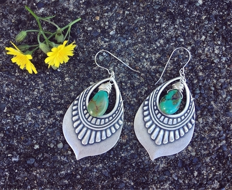 Silver dangles wire wrapped tur - kookoomamadesign | ello