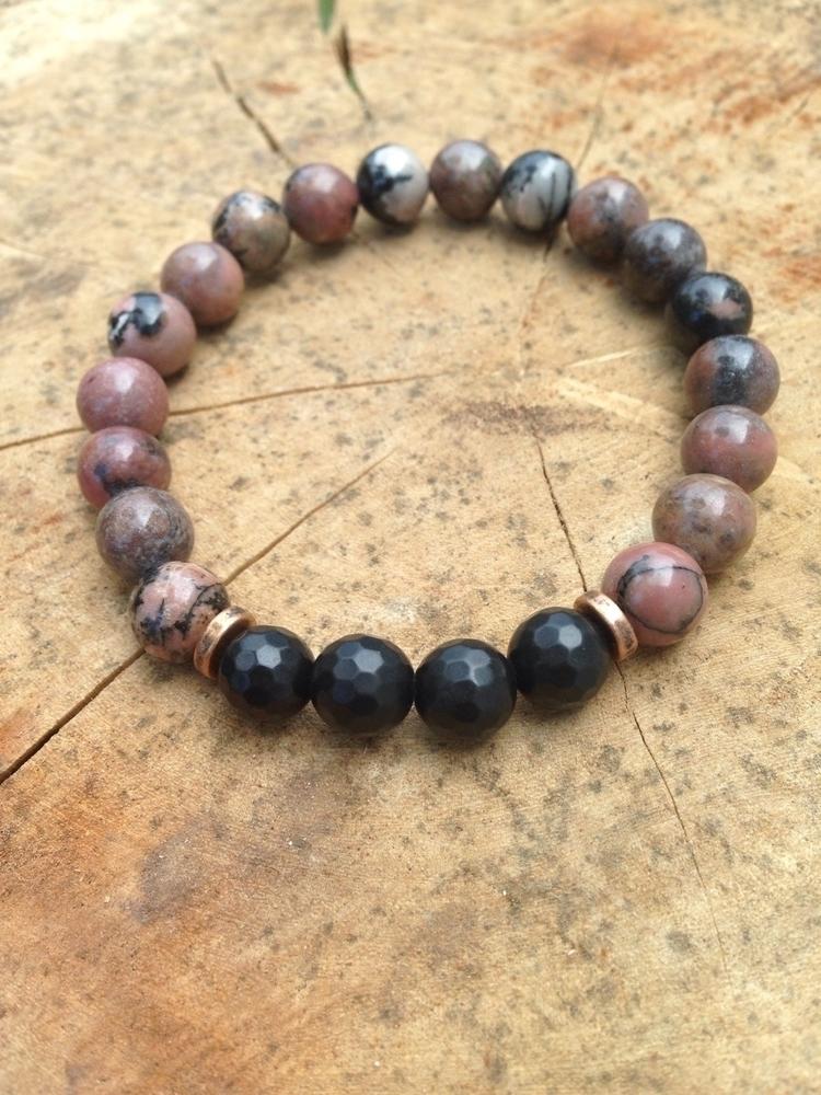 Rhodonite + Obsidian bracelet.  - bohoelementsdesigns | ello
