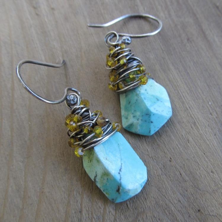 Colorful Summer earrings. Turqu - artdi | ello