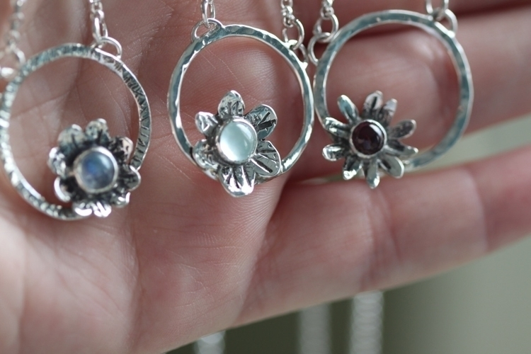 Wildflower Halo Necklaces etsy  - silverbrookstudios | ello