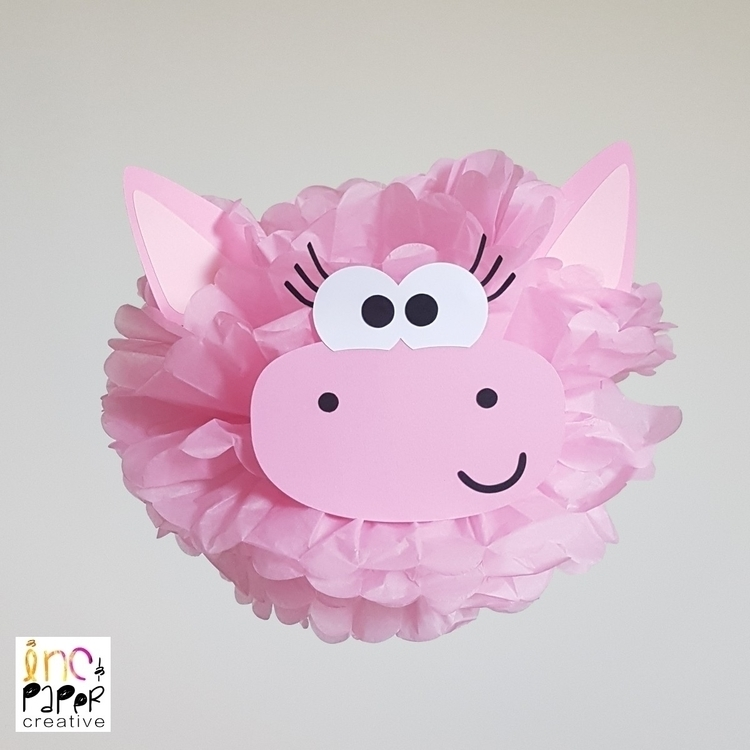 Pig paper pompom - Farm party - incandpapercreative | ello