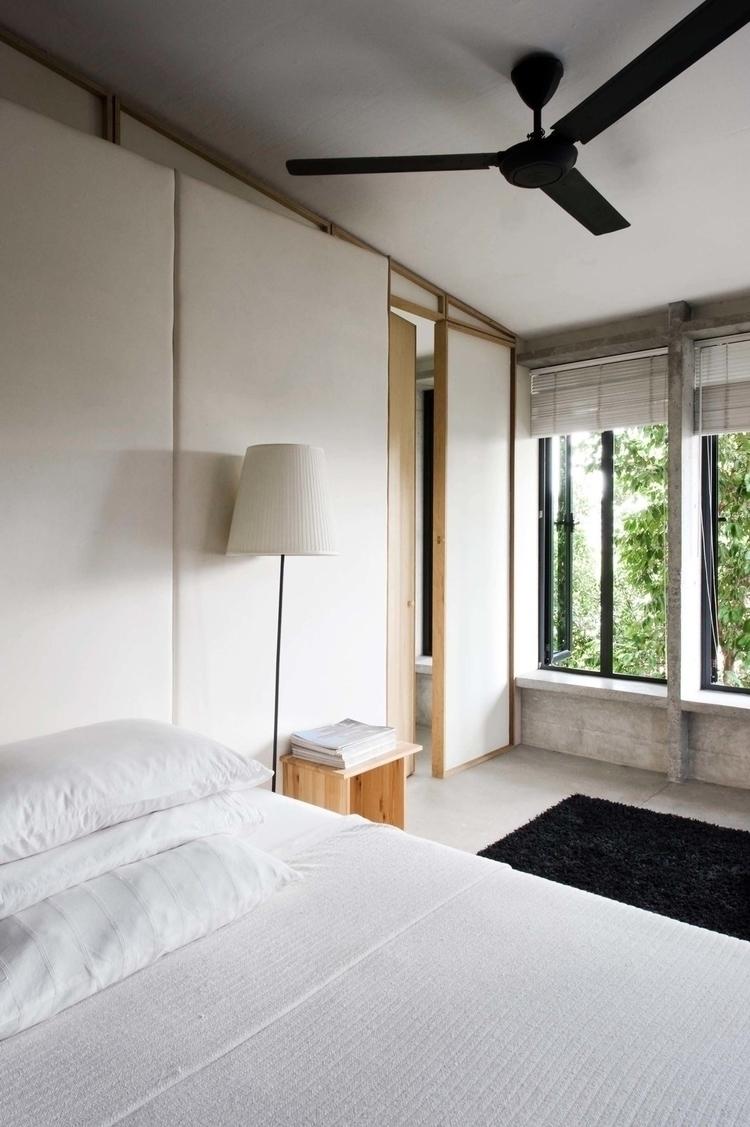 Asian bedroom combining rustic  - upinteriors   ello