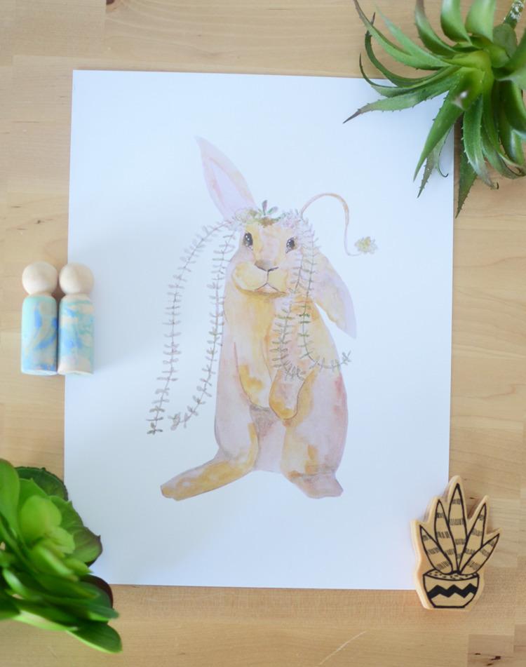 A4 Succulent Hare print 300gsm  - deerandfox | ello