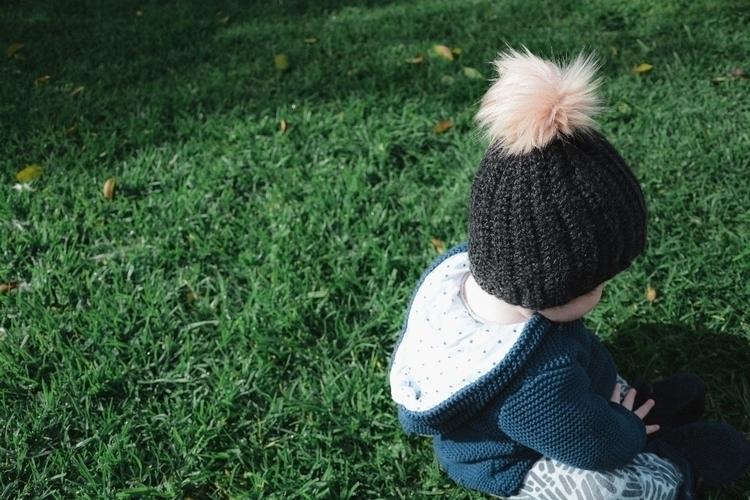 Ollie beanie handmade poms. pic - oliver_and_amber | ello