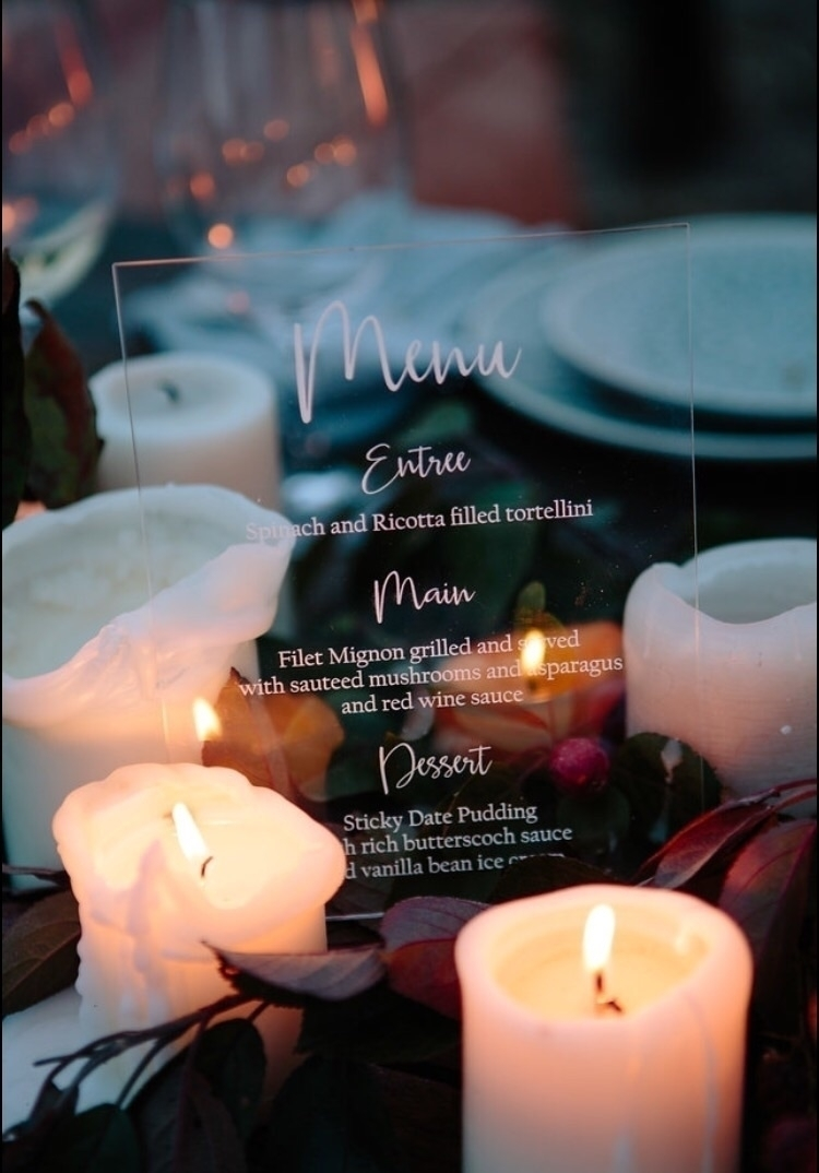 Acrylic Table menus Weddings Ev - luxelaserco   ello