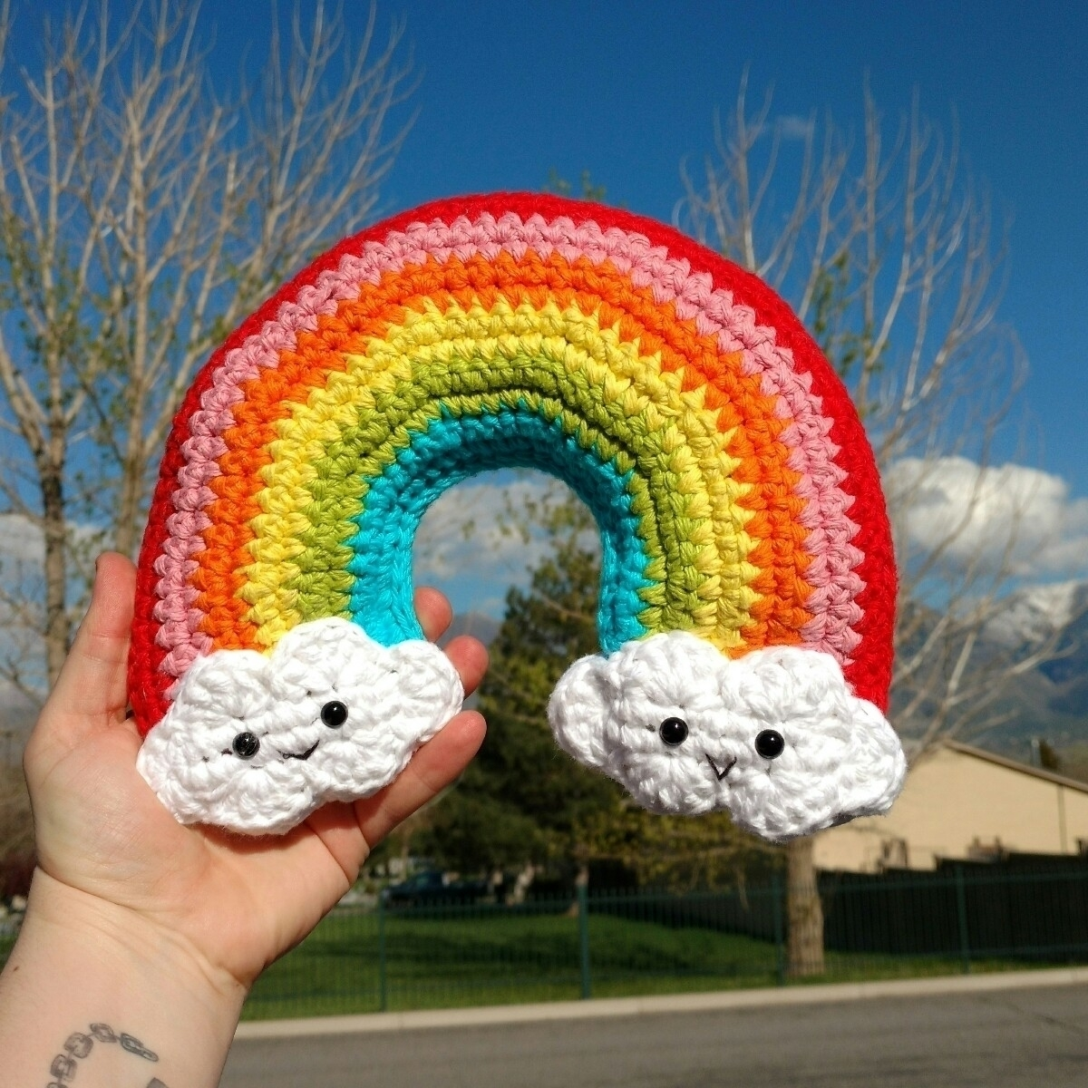 funnest decor toy - crochet, rainbows - crochetedbycrissa | ello