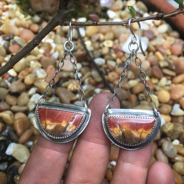 Creek Jasper Earrings ~ stones  - lunaseestudios | ello