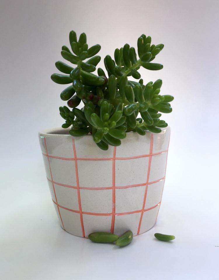 Pink White Grid Planter - jwoolard | ello
